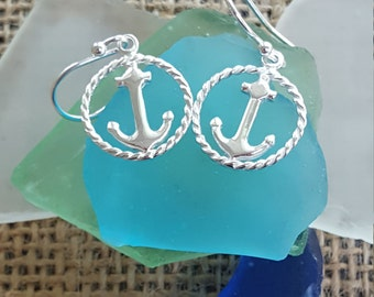 Anchor with Rope Halo Earrings-Sterling Silver