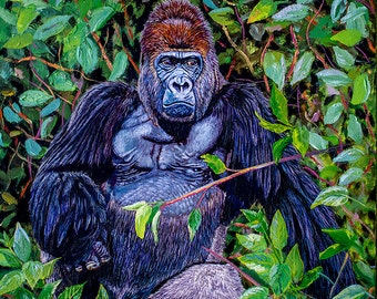 Gorilla Attitude Original Oil Painting 18x24x1.5 in on gallery canvas