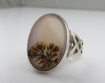 Vintage Sterling Moss Agate Stone Ring Beautiful.