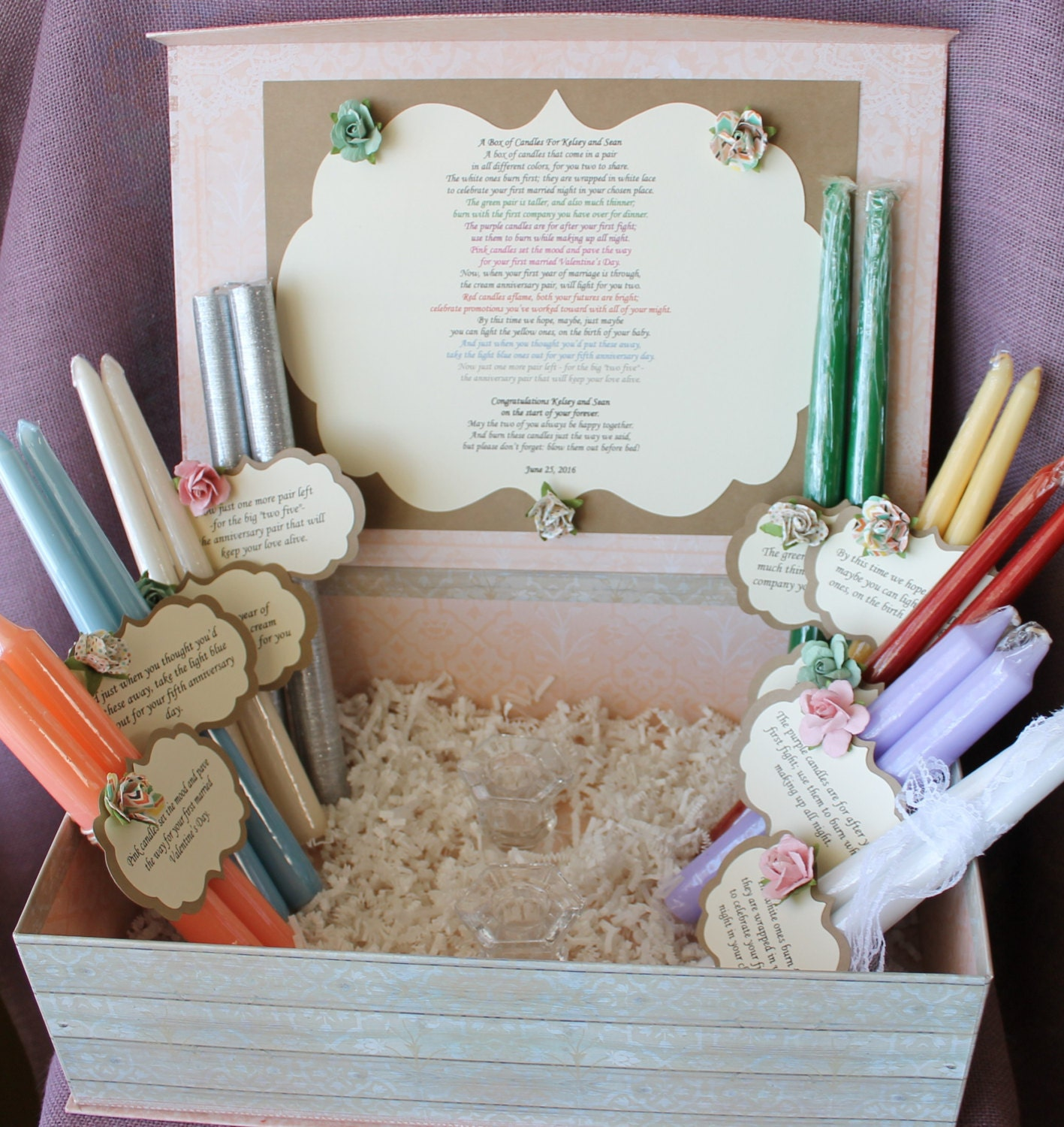 Wedding Shower Gift Basket Poem : Wedding Shower Candle Poem Gift Set. Bridal candle basket.
