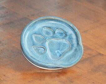 Paw Print Pottery Spoon Rest - Icy Blue Glaze