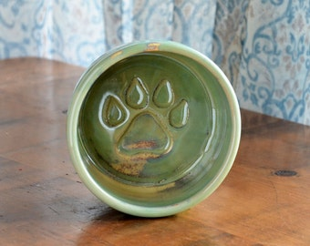 Small Pottery Dog Bowl - Apple Green Glaze