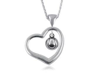 Heart Open Drop Tennis .925 Sterling Silver Necklace, Sports Jewelry, TNBL3-6242