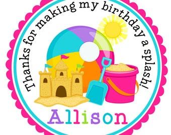 Beach Birthday Stickers-Beach Birthday Tags-Pool Party-Set of 12
