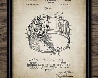Vintage Snare Drum Patent Print - 1963 Drum Kit Design - Drum Kit Equipment - Rock Band - Single Print #1041 - INSTANT DOWNLOAD