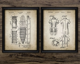 Vintage Surfing Patent Print Set Of 2 - Surfboard Design - Wet Suit - Surfing Wall Art - Set Of Two Prints #1136 - INSTANT DOWNLOAD
