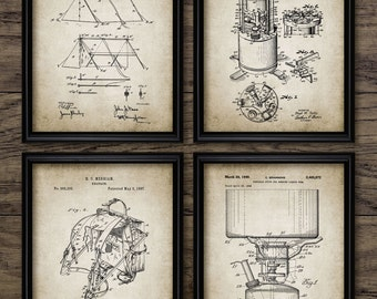 Camping Patent Print Set Of 4 - Camping Decor - Tent - Camping Stove - Rucksack Design - Set Of Four Prints #1952 - INSTANT DOWNLOAD