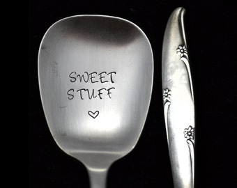 Stamped Sugar Spoon Sweet Stuff Vintage Floral Silverware Engraved Flatware Hostess Housewarming Gift Condiment Spoon Silver Flowers