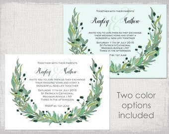 "Rustic Wedding invitation templates Watercolor olive ""Wreath"" printable garland wedding invitations template Editable Word digital download"