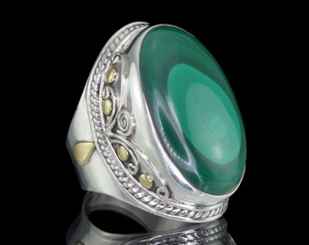Malachite & 925 Sterling Silver Statement Ring - Sz US 10 (UK,  Aus. T 1/2) #B030