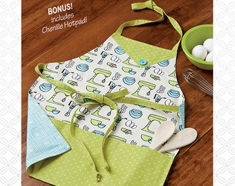 Mom And Me Apron Pattern - Atkinson Designs - 3 Sizes Included - Adult, Child, Toddler - BONUS Hot Pad - IN STOCK -- Kit  available