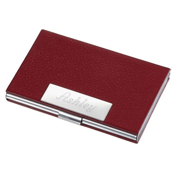 Personalized business card case holder red leather ladies for Monogrammed leather business card holder