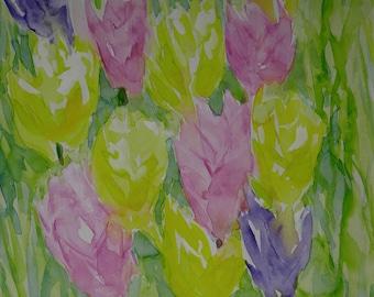 Original watercolor, Flowers, tulips, still life
