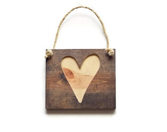 Wooden Heart Sign - Walnut Stain with Raw Wood - Heart Sign - Rustic Wall Art with Rope Hanger Included