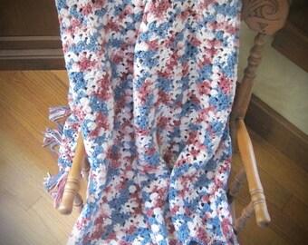 Crochet Afghan, Crochet Blanket, Crochet Afghan, Multi Rose Pink Blue and Soft White Afghan, Home Decor, Bedroom Decor