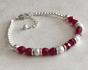 January Birthstone Bracelet, Garnet Bracelet, January Bracelet, January Garnet Bracelet, Red Garnet Bracelet, Red Bead Bracelet, Red Beaded