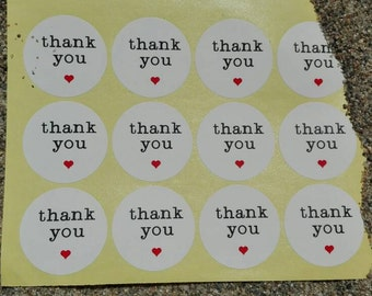 Pack of 24 Thank YOU colour stickers  thank you card  wedding baby show birthday party gift craft supplies scrapbooking