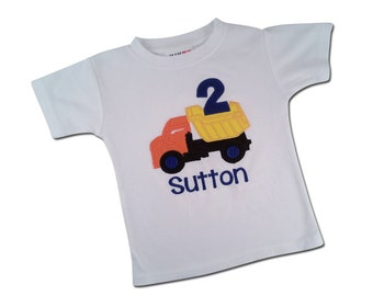 Boy's DUMP TRUCK Birthday Shirt with Number, Button Wheels and Embroidered Name