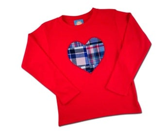 Boy's Valentine Heart Shirt with Embroidered Name - M27