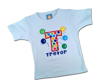 Boy's Birthday Shirt with Bouncing Balls, Initial and Embroidered Name - White