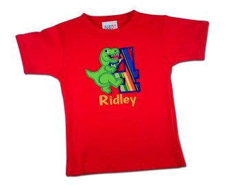 Boy's Dinosaur Birthday Shirt with Stripe Number and Name