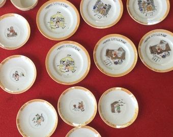 """Vintage child's tea set lusterware """"Three Little Pigs"""" Japan"""