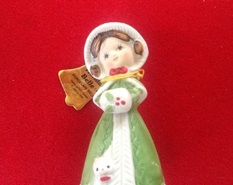 Vintage Jasco merri bells victorian christmas girl with muff ceramic bell