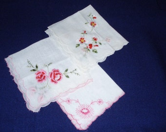 Vintage Ladies Sheer White Hankies with Scalloped Edges and Embroidery