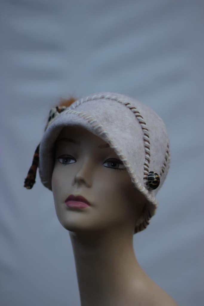 felt hat womens white hats warm cozy hat unique by