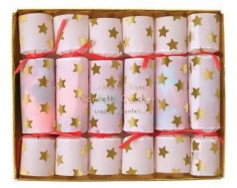 Tiny Confetti Crackers (6), Meri Meri Party Poppers, Toot Sweet Gold Star Decor, Star Christmas Cracker, Party Favor with Tissue Confetti
