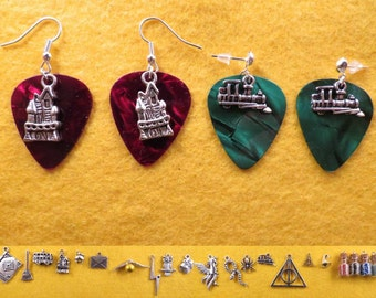 Wizard guitar pick earrings with the charm of your choice.