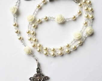Personalized Rosary- Swarovski Cream Pearl and Clear Crystals- Cream Roses
