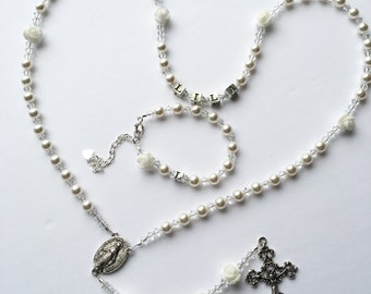 Personalized Rosary- Swarovski White Pearl and Clear Crystals- White Roses
