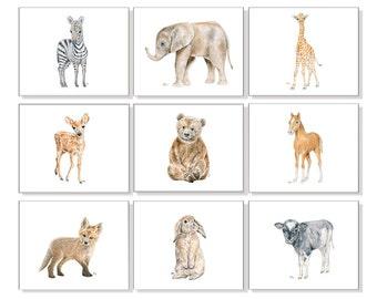Childrens Art Childrens Prints Childrens Wall art Childrens Room Decor Girls Room Art Boys Wall Art Playroom Art Animal Prints Set of 9.