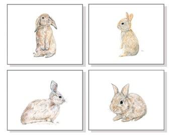 Bunny Art Bunny Paintings Bunny Prints Bunny Print Set of 4 Bunny Watercolor Bunny Rabbit Art Bunnies Poster Bunny Wall Decor Bunny Wall Art