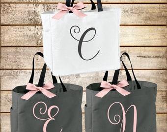 Personalized Bridal Tote Bag, Bridesmaid Tote Bag, Maid of Honor Tote Bag, Monogrammed Tote Bag (BR032)