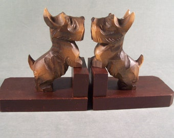 Black Forest Bookends Scottie Scotty Dogs Germany     S930