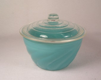 Bartlett Collins Small Glass Bowl with Lid  Turquoise       S932