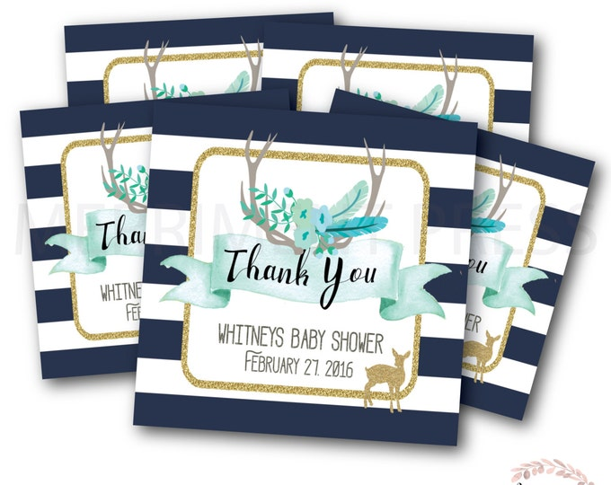 Favor Tags // Oh Deer // Fawn // Woodland Favor Tags // Woodland // Navy // Stripes // Printed or Printable DIY // OXFORD COLLECTION