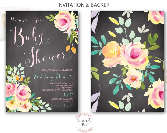 Baby Shower Invitation // Chalkboard //Roses //Peonies // Peony// Baby Sprinkle Invitation // Pink // Yellow// VENICE COLLECTION