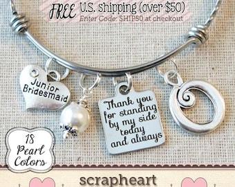 Jr Bridesmaid Bracelet, Junior Bridesmaid Gift, Personalized Wedding Jewelry,Personalized Bridesmaid Keepsake, Wedding Initial Charm Bangle