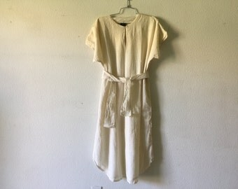 Vintage 70s India Cotton Gauze Caftan Hippie Festival Gipsy Dress
