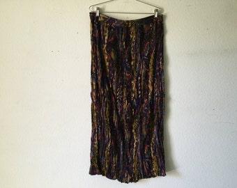 Vintage Skirt  - Drawstring Crinkle Pleats Long Maxi Broomstick Hippie Gypsy Boho Indian Festival Cotton