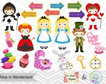 Instant Download Alice in Wonderland Clipart, Alice in Wonderland Digital Clip Art, Wonderland Clipart, Alice Clip Art, 00228