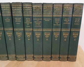 Sale - free shipping -Harvard Classics -  Green Hardcover Set - Five Foot Shelf of Books - Collier - 1956