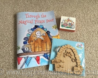 BROWN HAIR BOY Through the Magical Pirate Door - Brown Hair Boy Character With Jolly Pirate Joe - My Personalised Book