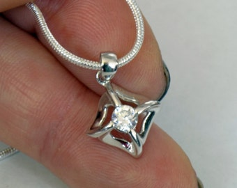 """VINTAGE 925 Sterling Silver CZ Pendant Faceted Cubic Zirkonia Pendant Small PENDANT Sterling Silver Chain 24"""" Holiday Gift Idea Under 50"""