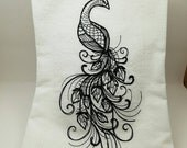 Large Peacock Embroidered Flour Sack Towel - Made to Order