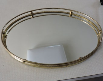 Vintage Brass Ball and Rail Mirrored Vanity Dresser Tray Oval Shape
