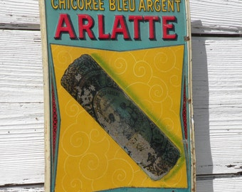 French vintage tin advertising sign, French metal sign, vintage tin sign, vintage tin sign, vintage sign, french advertising sign